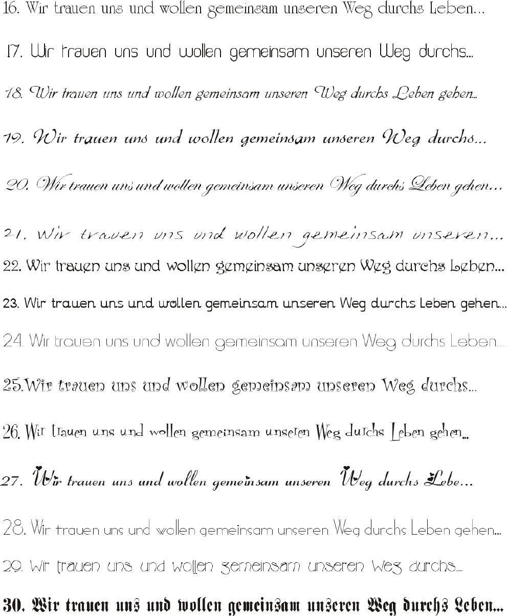 Schriftarten 16 30